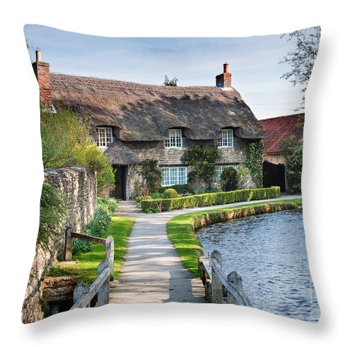 Landscape Throw Pillow featuring the photograph Thatched Cottage Thornton Le Dale by Richard Burdon