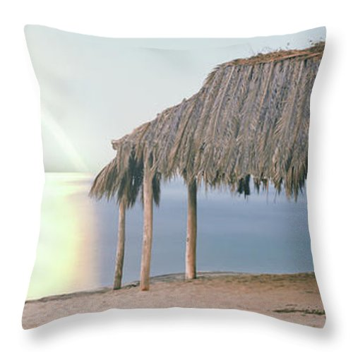 Photography Throw Pillow featuring the photograph Thatched Roof On The Beach, Windansea by Panoramic Images