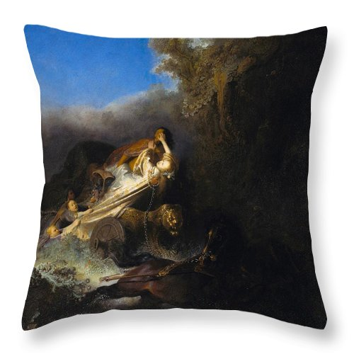 1631 Throw Pillow featuring the painting The Abduction Of Proserpina by Rembrandt van Rijn