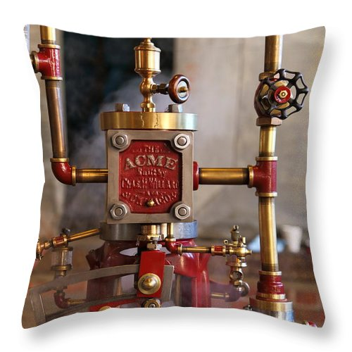 Acme Throw Pillow featuring the photograph The Acme Steam Engine by Pat Williams