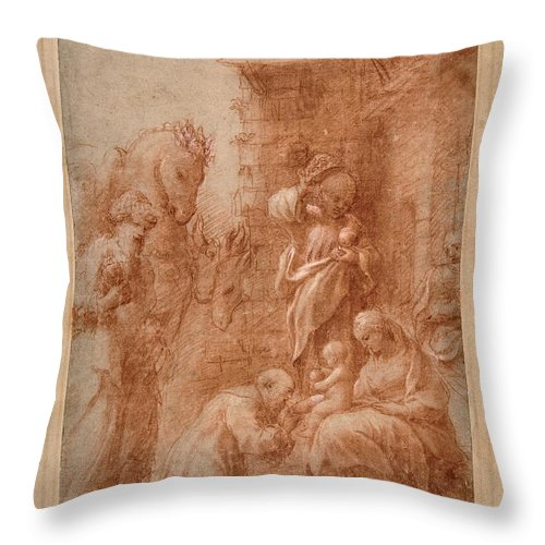 Correggio Throw Pillow featuring the drawing The Adoration Of The Magi by Correggio