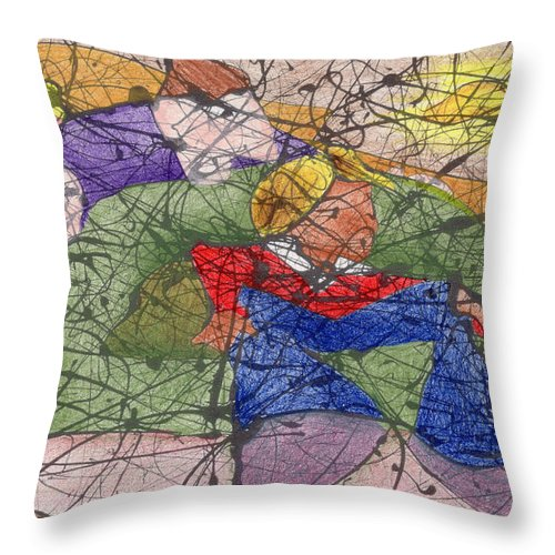 Abstract Throw Pillow featuring the painting The Air Guitarist by Ismael Cavazos
