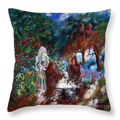Spiritual Throw Pillow featuring the painting The Alchemists by Joyce Jackson