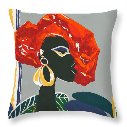Black Throw Pillow featuring the painting The Ambassador by Elisabeta Hermann