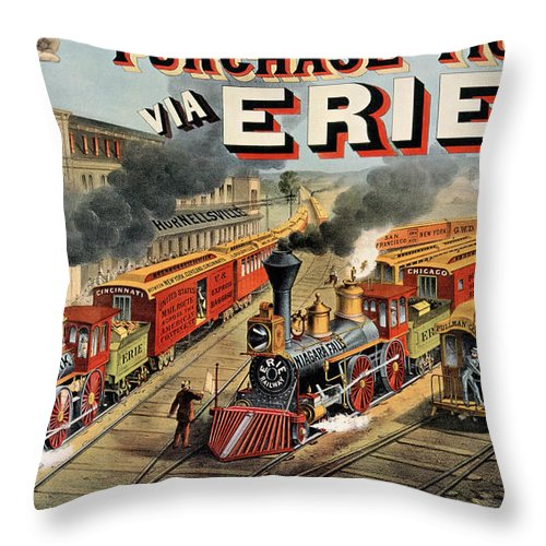 Train Throw Pillow featuring the painting The American Railway Scene by Currier and Ives