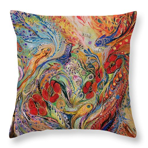 Original Throw Pillow featuring the painting The Anemon Flowers by Elena Kotliarker