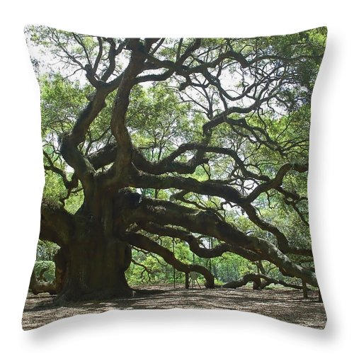 Angel Oak Throw Pillow featuring the photograph The Angel Oak by Suzanne Gaff