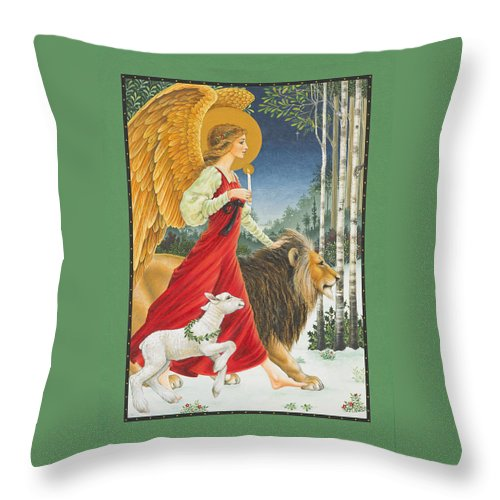 Angel Throw Pillow featuring the painting The Angel The Lion And The Lamb by Lynn Bywaters
