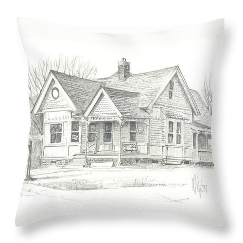 The Antique Shop Throw Pillow featuring the drawing The Antique Shop by Kip DeVore