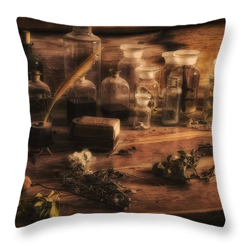 Apothecary Throw Pillow featuring the photograph The Apothecary by Priscilla Burgers