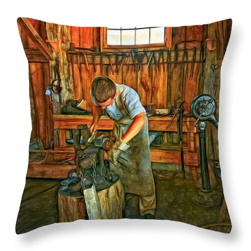 Blacksmith Throw Pillow featuring the photograph The Apprentice 2 - Paint by Steve Harrington
