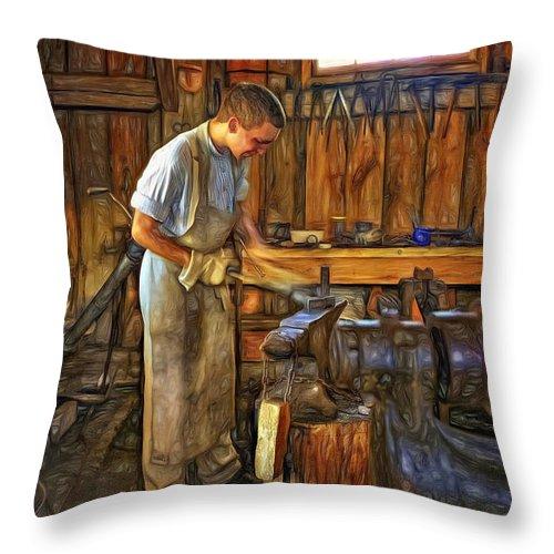 Blacksmith Throw Pillow featuring the photograph The Apprentice - Paint by Steve Harrington