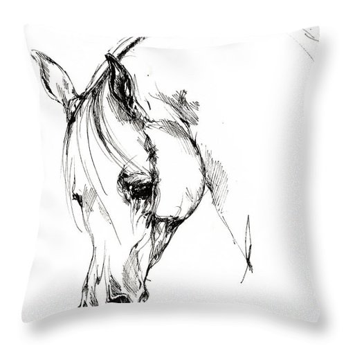 Horse Throw Pillow featuring the drawing The Arabian Horse Sketch by Angel Ciesniarska