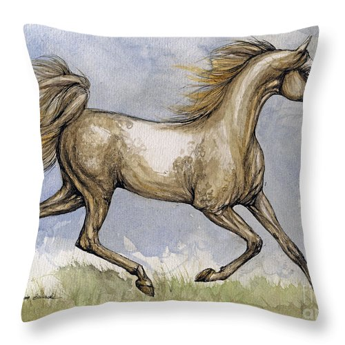 Mare Throw Pillow featuring the painting The Arabian Mare Running by Angel Ciesniarska