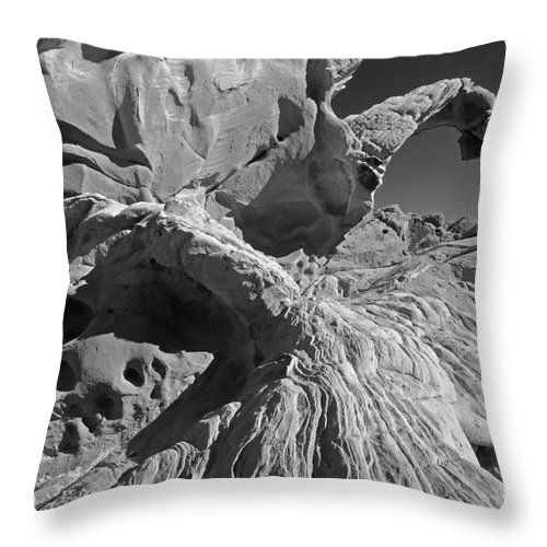 Arch Throw Pillow featuring the photograph The Arch Bw by Mike Nellums
