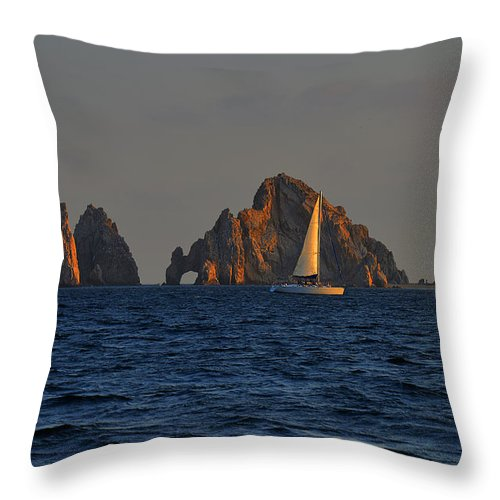 Rocks Throw Pillow featuring the photograph The Arch El Arco Cabo San Lucas by Christine Till