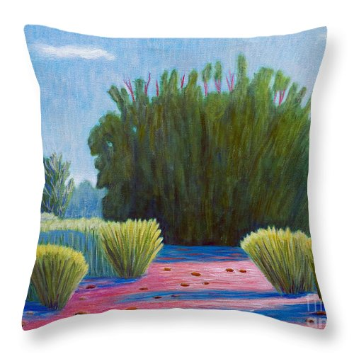 Landscape Throw Pillow featuring the painting The Arroyo by Brian Commerford