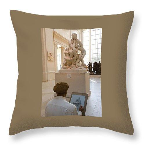 Greek Throw Pillow featuring the photograph The Artist by Ellin Pollachek