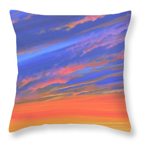 Sunset Throw Pillow featuring the painting The Aunt's House by Hunter Jay