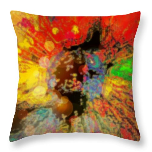 Colorful Throw Pillow featuring the mixed media The Awkening by Wendie Busig-Kohn