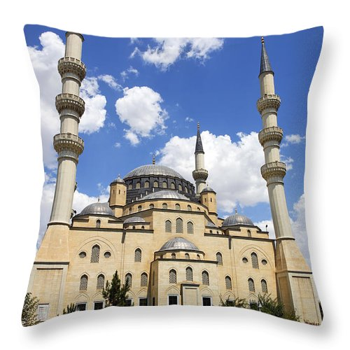 Turkmenistan Throw Pillow featuring the photograph The Azadi Mosque At Ashgabat In Turkmenistan by Robert Preston
