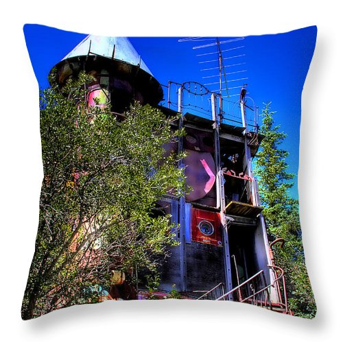Junk Castle Throw Pillow featuring the photograph The Back Stairs by David Patterson