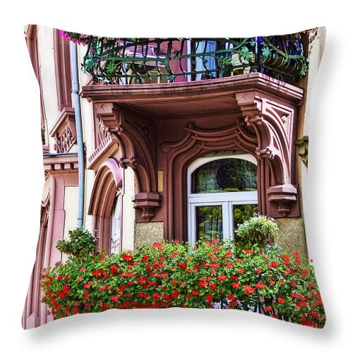 Architecture Throw Pillow featuring the photograph The Balcony Flowers by Marcia Colelli