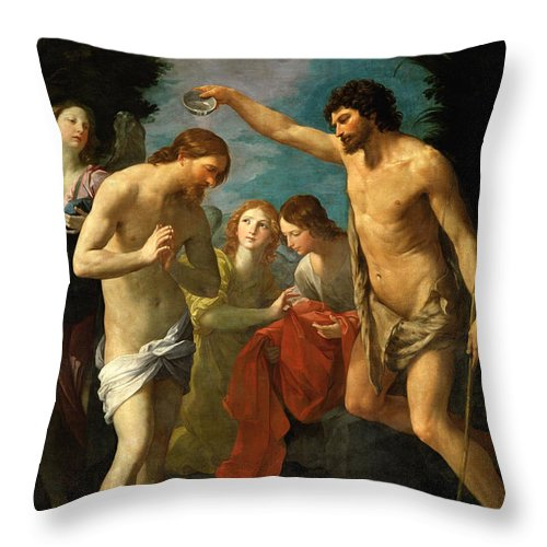 Guido Reni Throw Pillow featuring the painting The Baptism Of Christ by Guido Reni