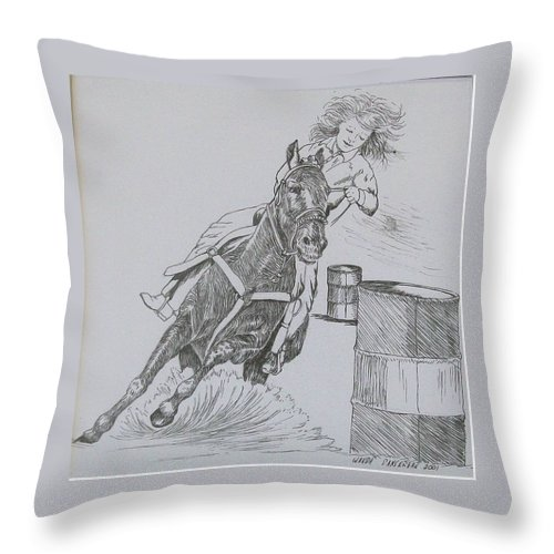Black And Grey Black Poster Throw Pillow featuring the drawing The Barrel Racer by Wanda Dansereau