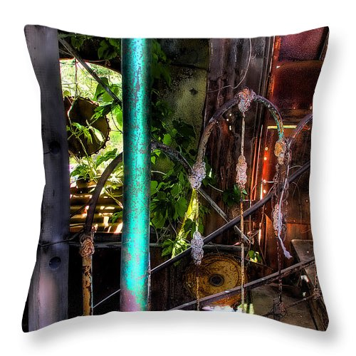Junk Castle Throw Pillow featuring the photograph The Basement Stairs by David Patterson