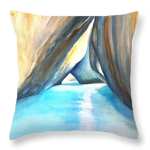The Baths Throw Pillow featuring the painting The Baths Azul by Carlin Blahnik CarlinArtWatercolor