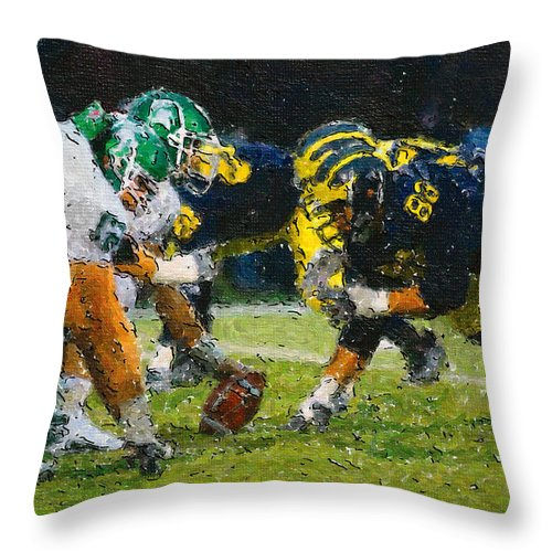 Michigan Throw Pillow featuring the painting The Battle by John Farr