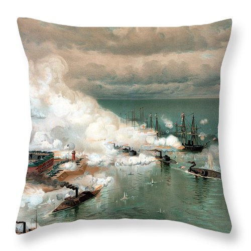Civil War Throw Pillow featuring the painting The Battle Of Mobile Bay by War Is Hell Store