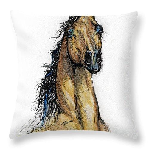 Arab Throw Pillow featuring the painting The Bay Arabian Horse 13 by Angel Ciesniarska