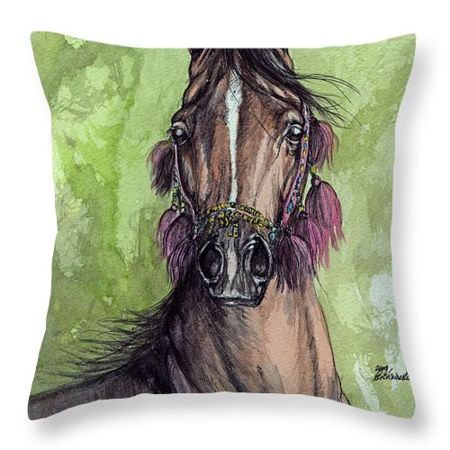 Horse Throw Pillow featuring the painting The Bay Arabian Horse 16 by Angel Ciesniarska
