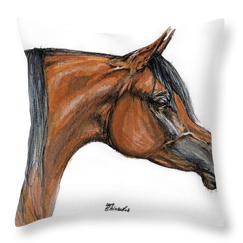 Arabian Throw Pillow featuring the painting The Bay Arabian Horse 18 by Angel Ciesniarska