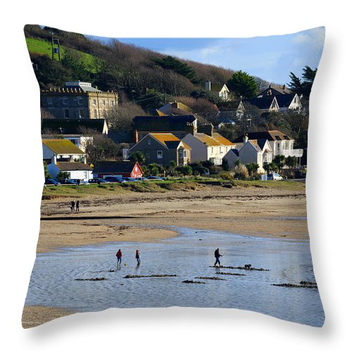 Mounts Bay Throw Pillow featuring the photograph The Beach At Marazion by Louise Heusinkveld