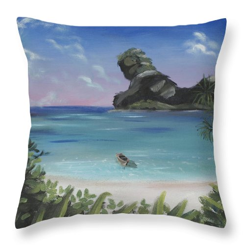 Beach Throw Pillow featuring the painting The Beach by Benaca