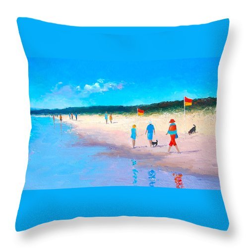 Beach Throw Pillow featuring the painting The Beach Walkers by Jan Matson