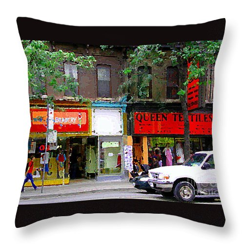 Toronto Throw Pillow featuring the painting The Beadery Craft Shop Queen Textiles Fabric Store Downtown Toronto City Scene Paintings Cspandau by Carole Spandau
