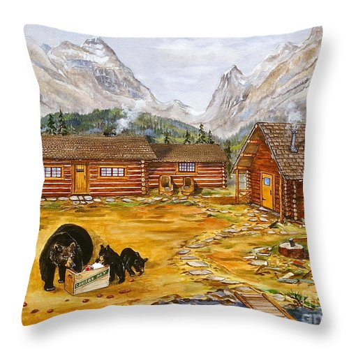 Bear Paintings Throw Pillow featuring the painting The Bear's Picnic by Virginia Ann Hemingson
