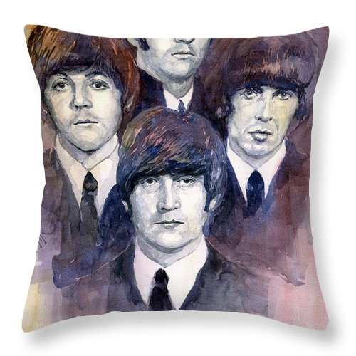 Watercolor Throw Pillow featuring the painting The Beatles 02 by Yuriy Shevchuk