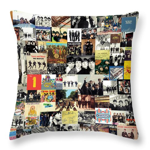 The Beatles Throw Pillow featuring the digital art The Beatles Collage by Zapista OU