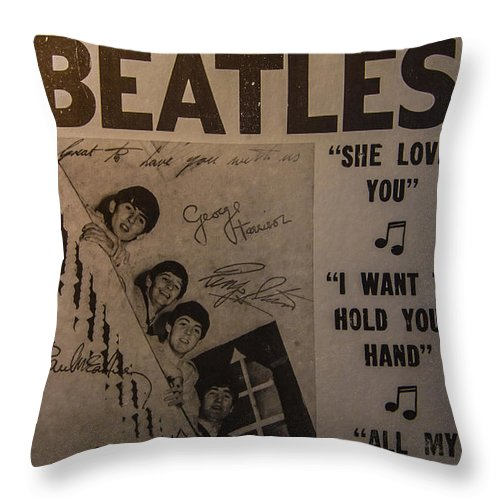 The Beatles Ed Sullivan Show Poster Throw Pillow featuring the photograph The Beatles Ed Sullivan Show Poster by Mitch Shindelbower