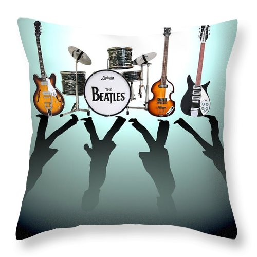 The Beatles Throw Pillow featuring the digital art The Beatles by Yelena Day