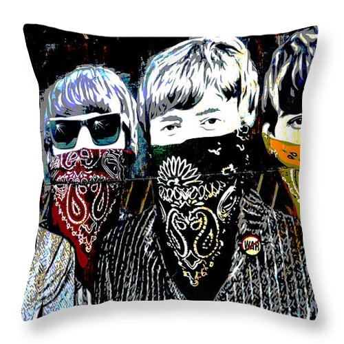 Banksy Throw Pillow featuring the photograph The Beatles wearing face masks by RicardMN Photography