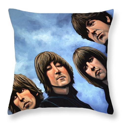 The Beatles Throw Pillow featuring the painting The Beatles Rubber Soul by Paul Meijering