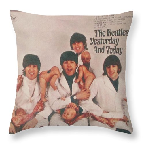 The Beatles Throw Pillow featuring the photograph The Beatles Yesterday and Today Butcher Album Cover by Donna Wilson