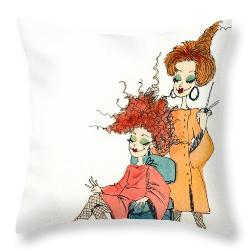 Beauticians Throw Pillow featuring the painting The Beauty Gurus by Katherine Miller