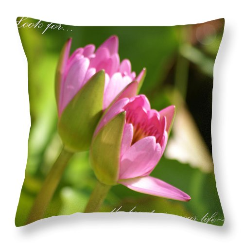 Pink Lilies Throw Pillow featuring the photograph The Beauty In Your Life by Patricia Twardzik